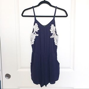 Papaya Navy Blue and White Lace Romper w/ Pockets